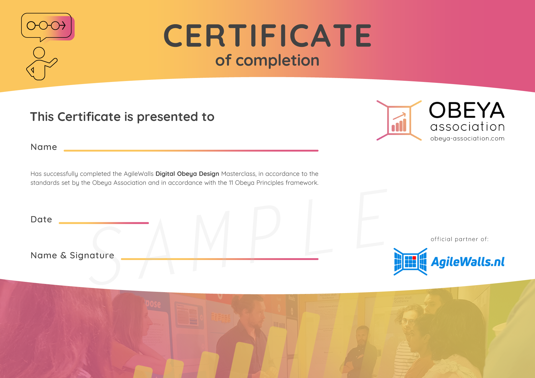 AgileWalls Obeya Association Certificate